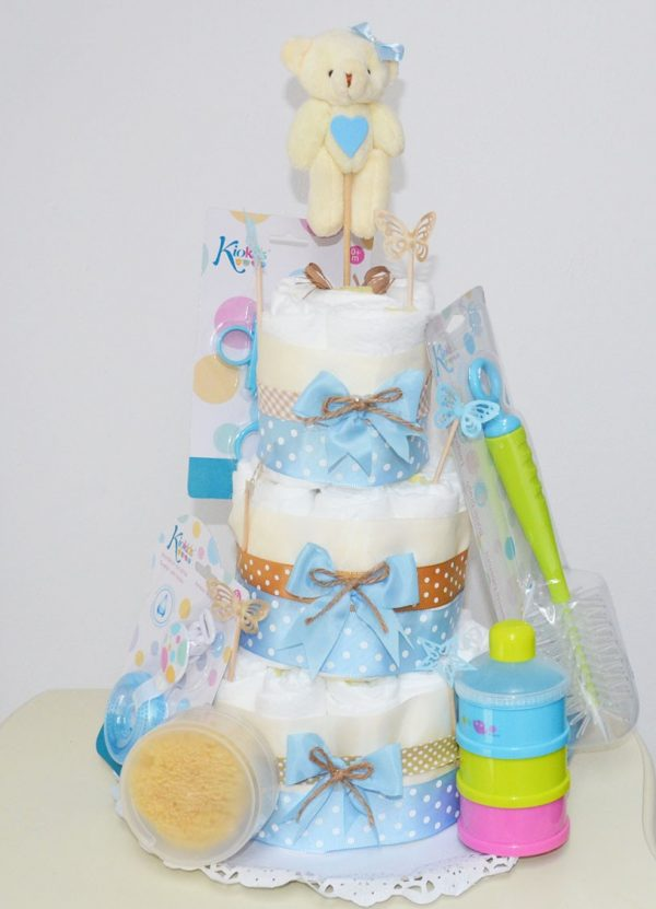 Tarta de pañales ternura en color azul