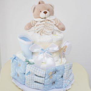 tarta de pañales chic en celeste
