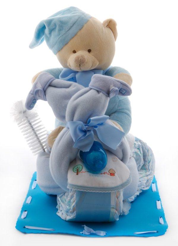 tarta de pañales motorista en color azul