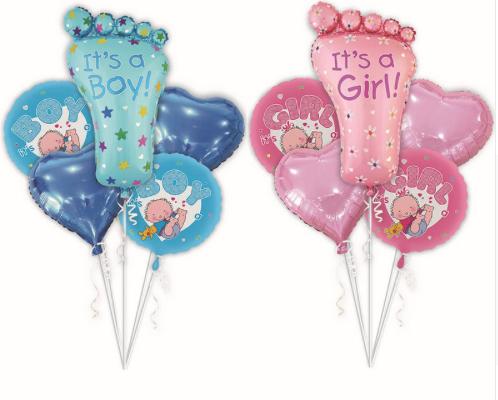 Ramos de globos de helio color azul y rosa | Hecho a mano