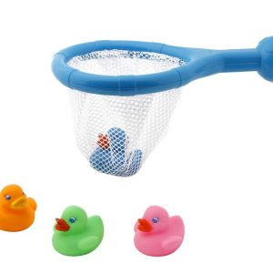 Set de 4 Patitos y Red para Baño Marca KIOKIDS | Al Agua Patos