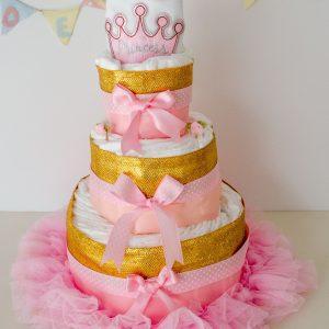 tarta de pañales princesa