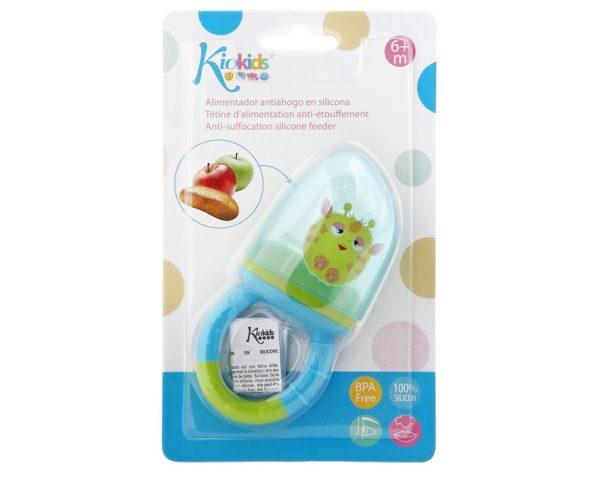 BL. Alimentador Antiahogo en Silicona color azul Marca KIOKIDS   Productos para la alimentacion de los bebes