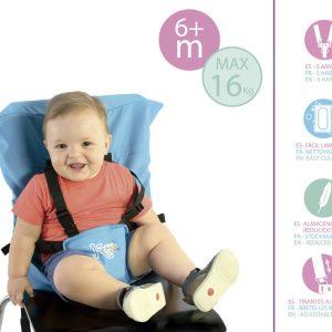 C. TRONA TEXTIL DE VIAJE Marca KIOKIDS color azul | Productos para la alimentacion de los bebes