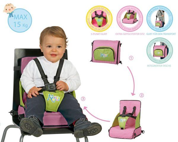 B. Trona Plegable Portátil ROSA Marca KIOKIDS | Productos para la alimentacion de los bebes
