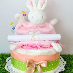 tarta de pañales conejito